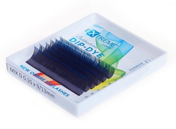 Ресницы с синими кончиками eXtreme look D 0,10 (9-13) black+blue