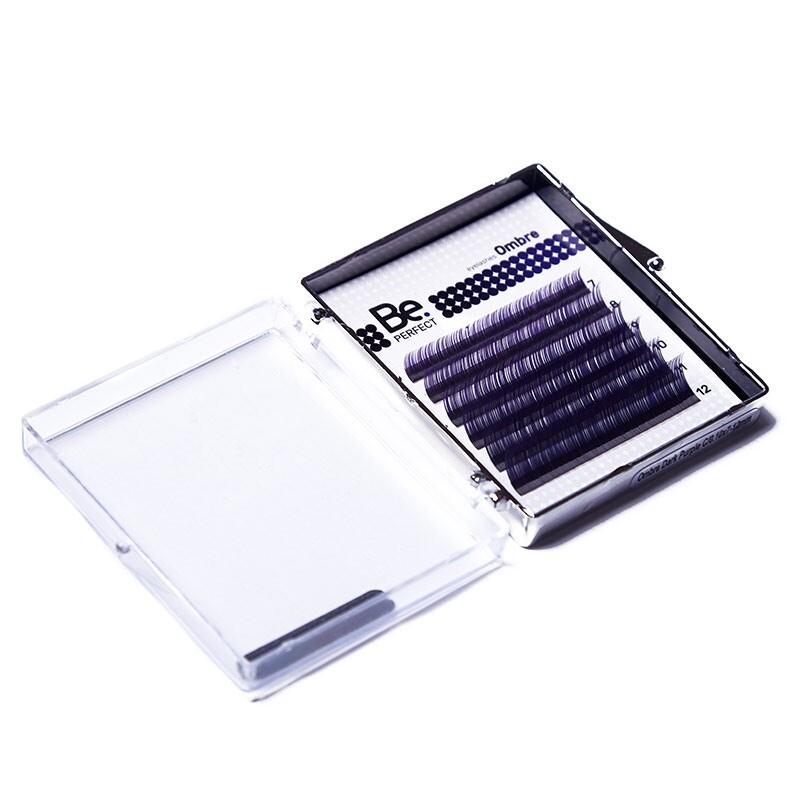Цветные ресницы Be Perfect Ombre Dark Purple MIX 6 линий