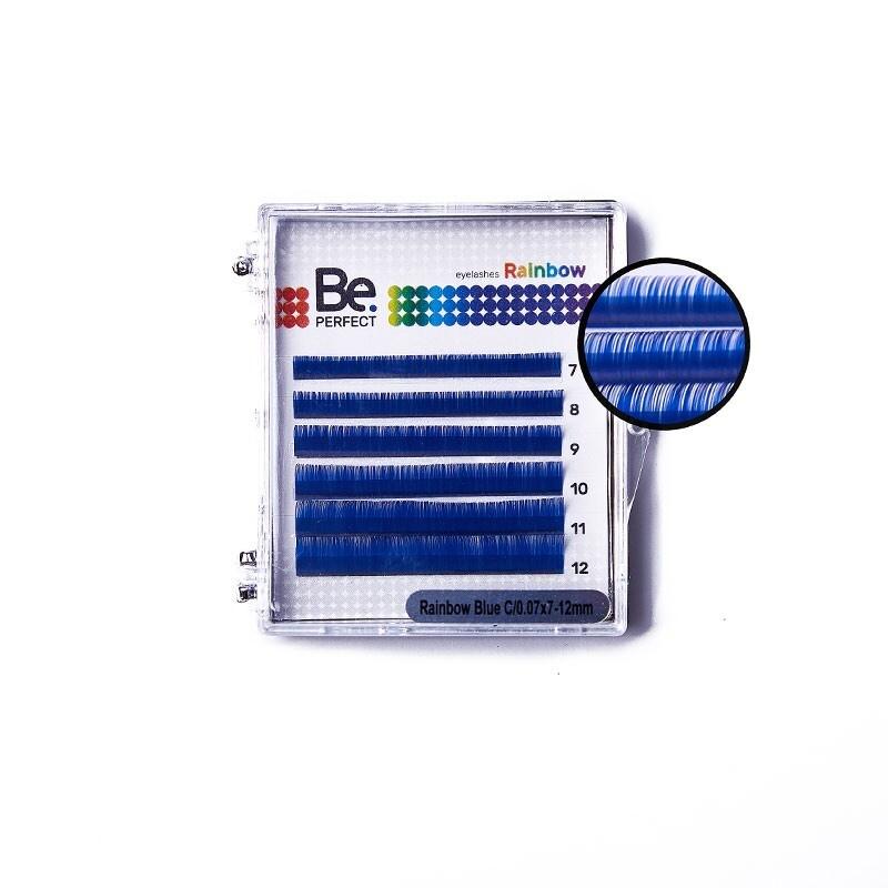 Цветные ресницы Be Perfect Rainbow Blue MIX 6 Линий