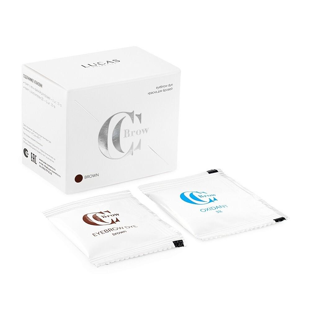 Краска для бровей CC Brow (пакет с гель-краской — 5шт, 15гр; пакет с окислителем 3% — 5шт, 15гр)